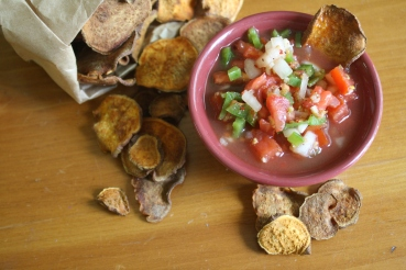 Spice Lime Salsa with Sweet Potato Chips